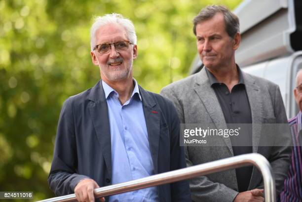 President of UCI Brian Cookson is portraited on the podium of the Prudential RideLondon Classic in London on July 30 2017 RideLondon known through...