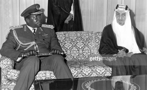 President of Uganda Idi Amin Dada meets the Saudi King Faisal ibn Abd al-Aziz in July 1972 in Riyadh during his Omra pilgrimage. His reign of terror...