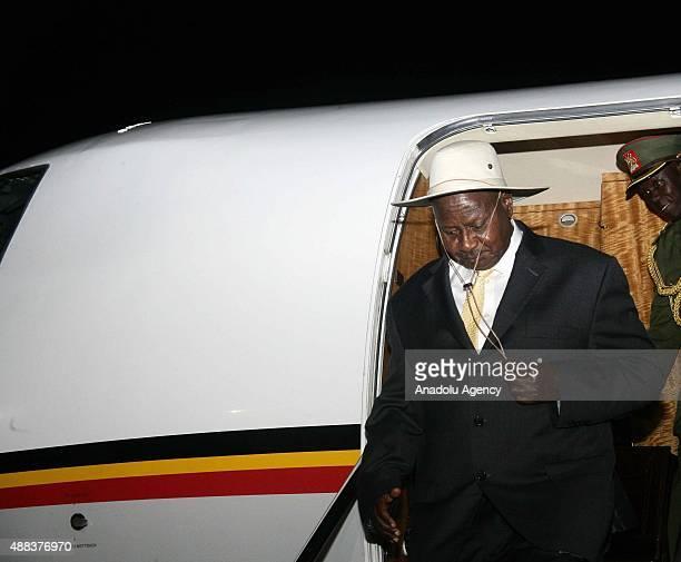 President of Uganda Yoweri Kaguta Museveni meets with President of Sudan Omar alBashir as Museveni arrives at Khartoum Airpot on September 15 2015 in...
