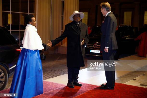 President of Uganda Yoweri Museveni arrives as Prince William, Duke of Cambridge and Catherine, Duchess of Cambridge host a reception to mark the...