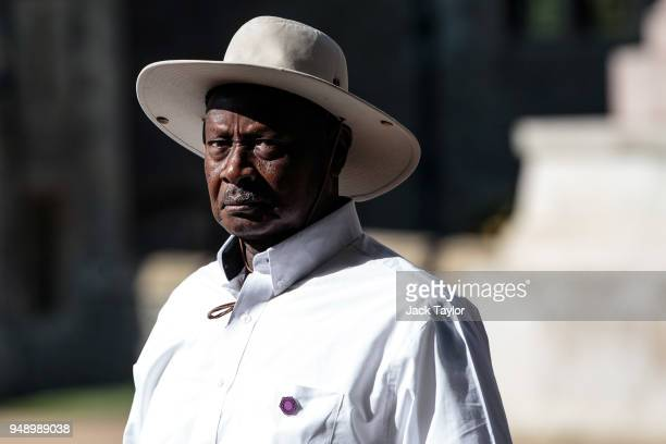 President of Uganda Yoweri Museveni arrives at Windsor Castle for a retreat with other Commonwealth leaders on the final day of the 'Commonwealth...