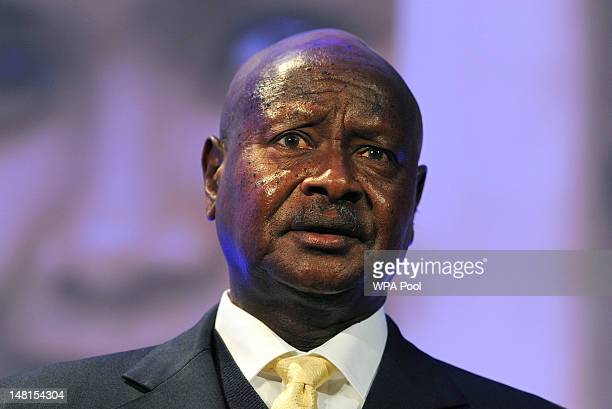 President of Uganda Yoweri Museveni speaks during the London Summit on Family Planning on July 11 2012 in London England The London Summit on Family...