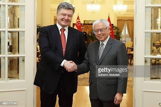 President of Ukraine, H.E. Petro Poroshenko visits President of Singapore, Tony Tan Keng Yam at the Istana on December 9, 2014 in Singapore. The...