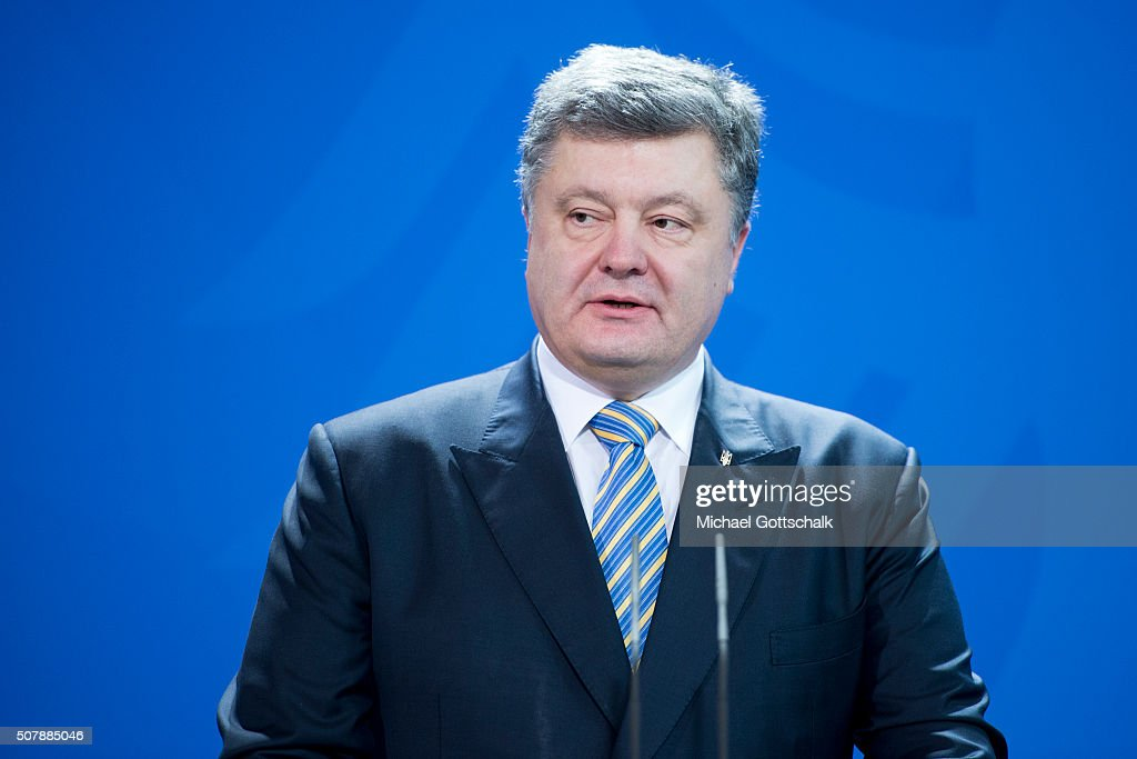 President of Ukraine Petro Poroschenko, addresses media prior to a meeting with the German Chancellor in the German Chancellery on February 01, 2016 in Berlin, Germany. The two leaders met primarily to discuss the situation in Ukraine, with both leaders urging the EU to renew sanctions againt Russia for its support of pro-Russian rebels in the east of Ukraine.