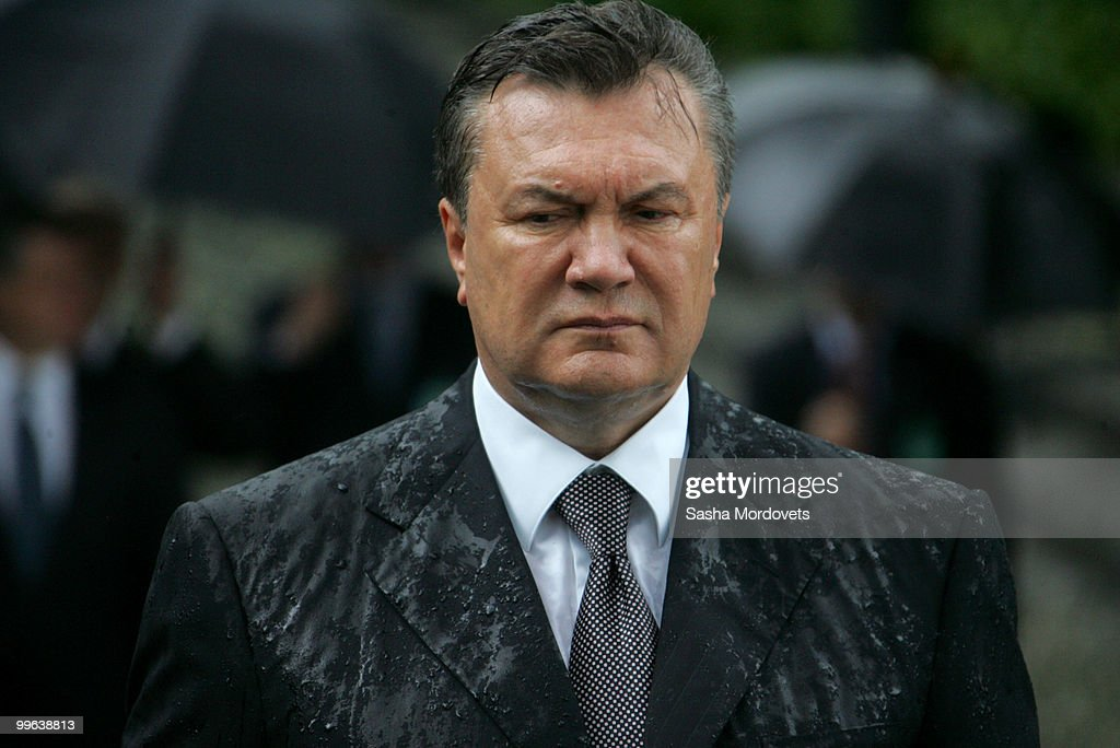 President of Ukraine Viktor Yanukovych attends a ceremony to mark the 1932-1933 Soviet famine known as Golodomor on May 17, 2010 in Kiev, Ukraine. Russian President Dmitry Medvedev is in the Ukraine as part of a two-day state visit to improve relations with the former Soviet republic and hammer out a series of agreements with the recently elected Ukrainian President Viktor Yanukovych.
