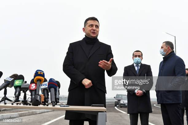 President of Ukraine Volodymyr Zelenskyy speaks to the press during the ceremony to launch the traffic on the Beam Bridge across the Staryi Dnipro...
