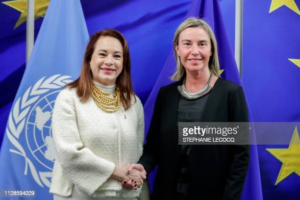 President of UN General Assembly Maria Fernanda Espinosa Garce is welcomed by European Union Foreign Policy Chief Federica Mogherini ahead of a...