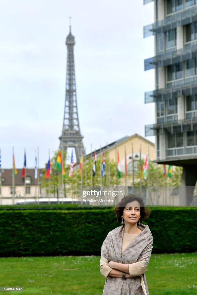 President of Unesco Audrey Azoulay waits for Canadian Prime Minister Justin Trudeau for a meeting at UNESCO on April 16, 2018 in Paris, France. Justin Trudeau is on a 3 day visit to France.