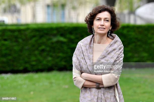 President of Unesco Audrey Azoulay waits for Canadian Prime Minister Justin Trudeau for a meeting at UNESCO on April 16 2018 in Paris France Justin...