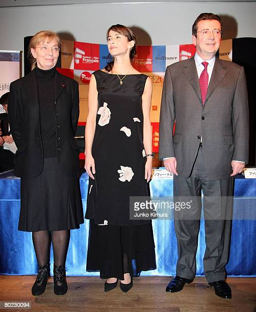 President of Unifrance Margare Menegoz actress Sophie Marceau and French Ambassador to Japan Philippe Faure attend the opening ceremony of the France...