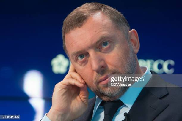 President of United Co Rusal Oleg Deripaska attends a session of the St Petersburg International Economic Forum 06 April 2018 have been put on...