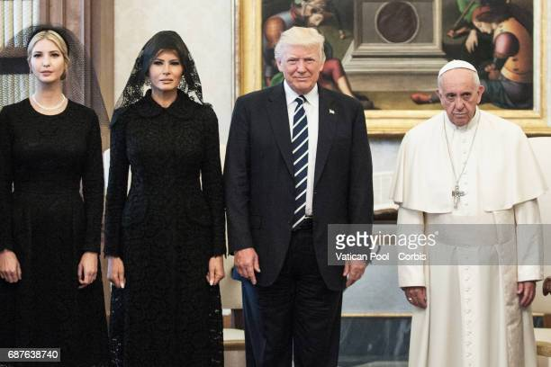 President of United States of America Donald Trump and Wife Melania Trump meet Pope Francis on May 22 2017 in Vatican City Vatican Photo by