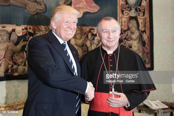 President of United States of America Donald Trump talks with Vatican State Secretary Pietro Parolin after a meeting with Pope Francis on May 22 2017...