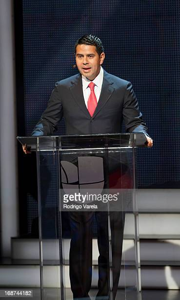President of Univision Networks Cesar Conde on stage at the 2013 Univision Upfront presentation at New Amsterdam Theatre on May 14 2013 in New York...