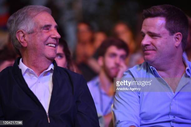 President of Uruguay Tabare Vazquez and his son Javier gather with people in the celebration when leaving the presidency of Uruguay in his second...