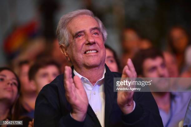 President of Uruguay Tabare Vazquez gathers with people in the celebration when leaving the presidency of Uruguay in his second time in Montevideo on...