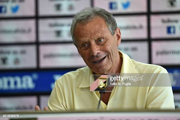 President of US Citta di Palermo Maurizio Zamparini answers questions during a press conference at Stadio Renzo Barbera on July 8, 2014 in Palermo,...