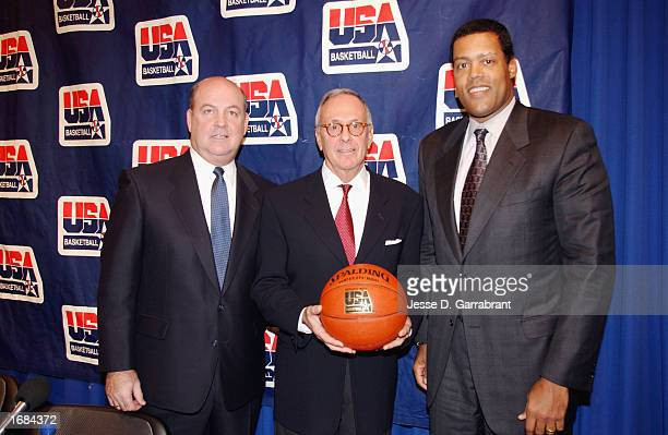 President of USA Basketball Tom Jernstedt Head Coach Larry Brown of the Philadeplphia 76ers and Vice President of USA Basketball Stu Jackson pose...