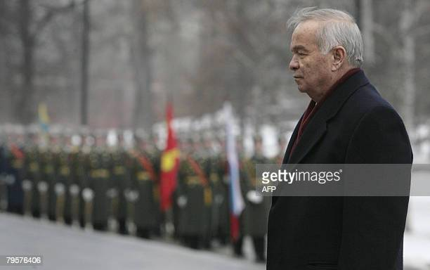 President of Uzbekistan Islam Karimov lays a wreath at the Tomb of the Unknown Soldier in Moscow on February 6 2008 The strongman leader of the oil...