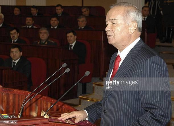 President of Uzbekistan Islam Karimov speaks at his inaugeration in Tashkent 16 January 2008 Uzbek strongman Karimov who has led his gasrich Central...