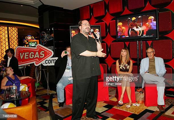 President of Vegascom Howard Lefkowitz speaks as Vegas Minute host Danielle Demski and actor and chair of the CineVegas creative advisory board...