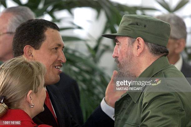 President of Venezuela Hugo Chavez is received by Cuban dictator Fidel Castro, 15 November, 1999 during the visit of the participant Chiefs of State...