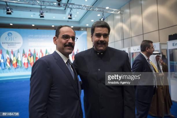 President of Venezuela Nicolas Maduro and Turkish Presidential Spokesman Ibrahim Kalin pose for a photo during the extraordinary summit of the...