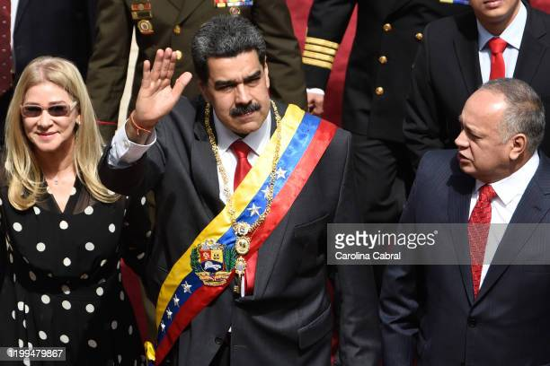 President of Venezuela Nicolas Maduro arrives along with the First Lady Cilia Flores and Constituent Assembly President Diosdado Cabello the to...