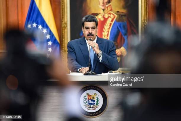 President of Venezuela Nicolas Maduro arrives to a press conference at Miraflores Palace on February 14, 2020 in Caracas, Venezuela.