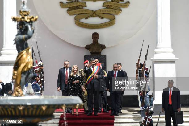 President of Venezuela Nicolas Maduro arrives to his annual address to the nation at the National Constituent Assembly on January 14, 2020 in...