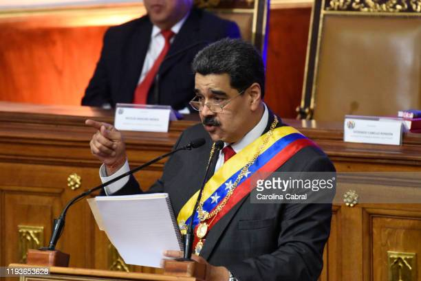 President of Venezuela Nicolas Maduro delivers his annual address to the nation at the National Constituent Assembly on January 14, 2020 in Caracas,...