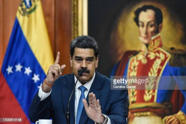 President of Venezuela Nicolas Maduro speaks during a press conference at Miraflores Palace on February 14 2020 in Caracas Venezuela