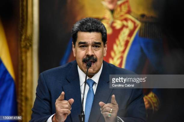 President of Venezuela Nicolas Maduro speaks during a press conference at Miraflores Palace on February 14, 2020 in Caracas, Venezuela.