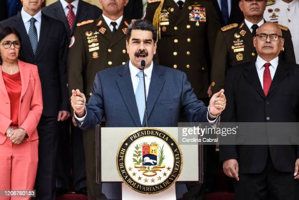 President of Venezuela Nicolas Maduro speaks during a press conference at Miraflores Government Palace on March 12 2020 in Caracas Venezuela Maduro...