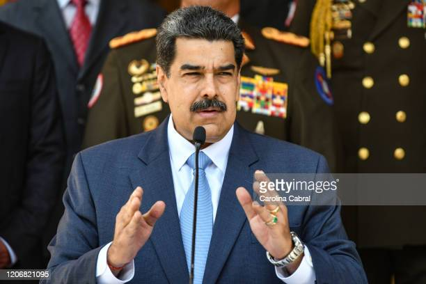 President of Venezuela Nicolas Maduro speaks during a press conference at Miraflores Government Palace on March 12, 2020 in Caracas, Venezuela....
