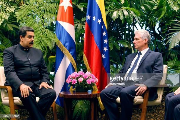 President of Venezuela Nicolas Maduro talks with President of Cuba Miguel DíazCanel during his official visit to Cuba on April 21 2018 in Havana Cuba...
