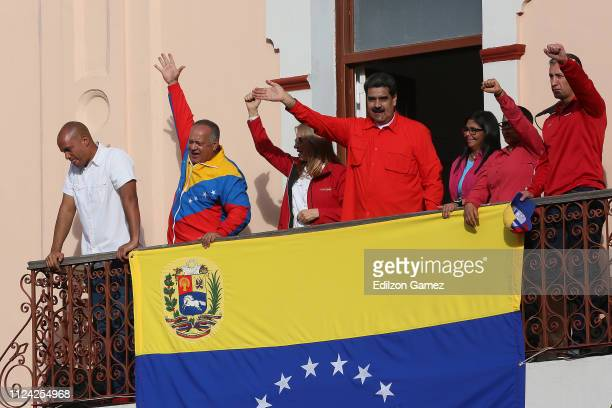 President of Venezuela Nicolás Maduro gives a speech to his supporters form the Balcón del Pueblo of the Miraflores Government Palace on January 23...