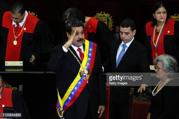 President of Venezuela Nicolás Maduro greets attendants before talkig to judges and members of the Supreme Justice Tribunal on its annual opening day...