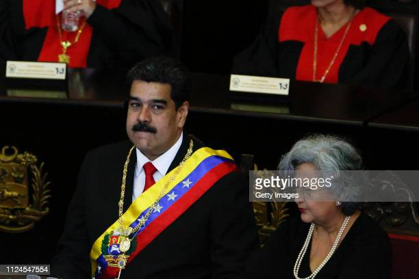 President of Venezuela Nicolás Maduro looks on before talking to judges and members of the Supreme Justice Tribunal on its annual opening day of...