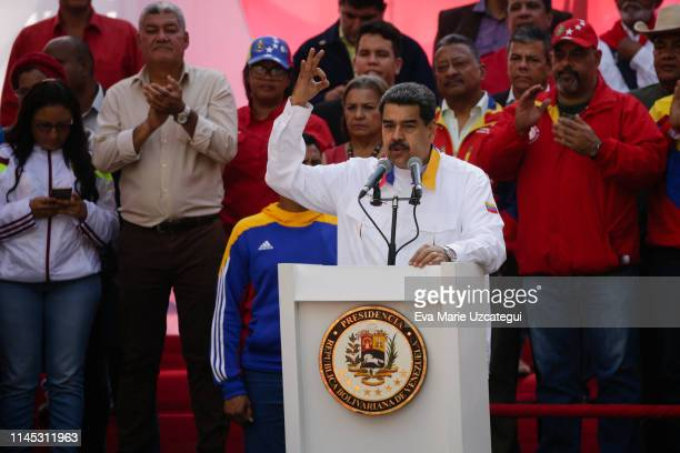 President of Venezuela Nicolás Maduro speaks during a demonstration summoned by Partido Socialista Unido de Venezuela at Palacio de Miraflores on May...