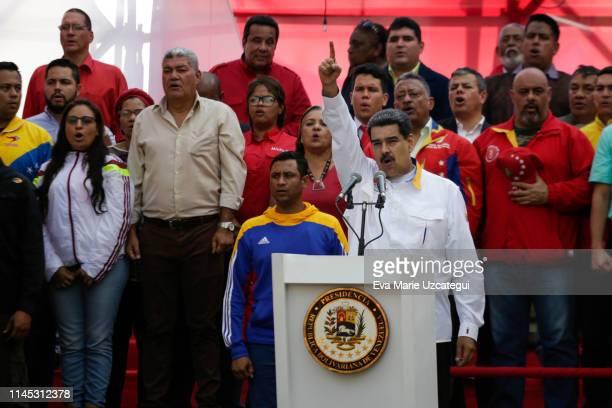 President of Venezuela Nicolás Maduro speaks during a demonstration summoned by Partido Socialista Unido de Venezuela at Palacio de Miraflores on May...