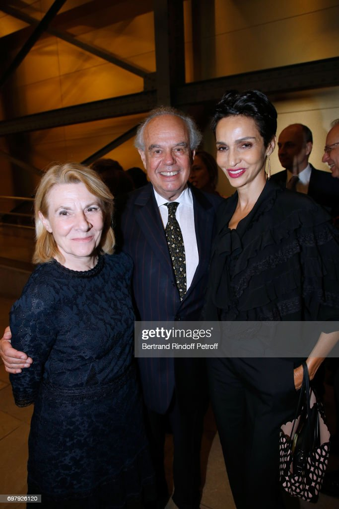 President of Versailles Castle Catherine Pegard, Frederic Mitterrand and Farida Khelfa Seydoux attend the 'Societe ses Amis du Musee d'Orsay' : Dinner Party at Musee d'Orsay on June 19, 2017 in Paris, France.