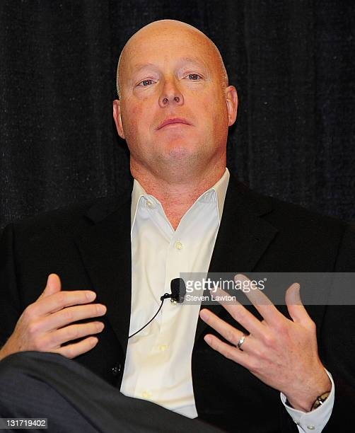 President of 'Walt Disney Studios Bob Chapek speaks during 'Tech Tussles' panel during CES 2011 at Las Vegas Convention Center on January 6 2011 in...