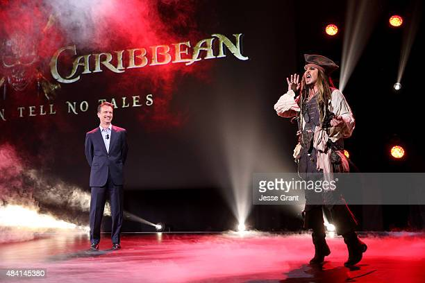 President of Walt Disney Studios Motion Picture Production Sean Bailey and actor Johnny Depp dressed as Captain Jack Sparrow of PIRATES OF THE...