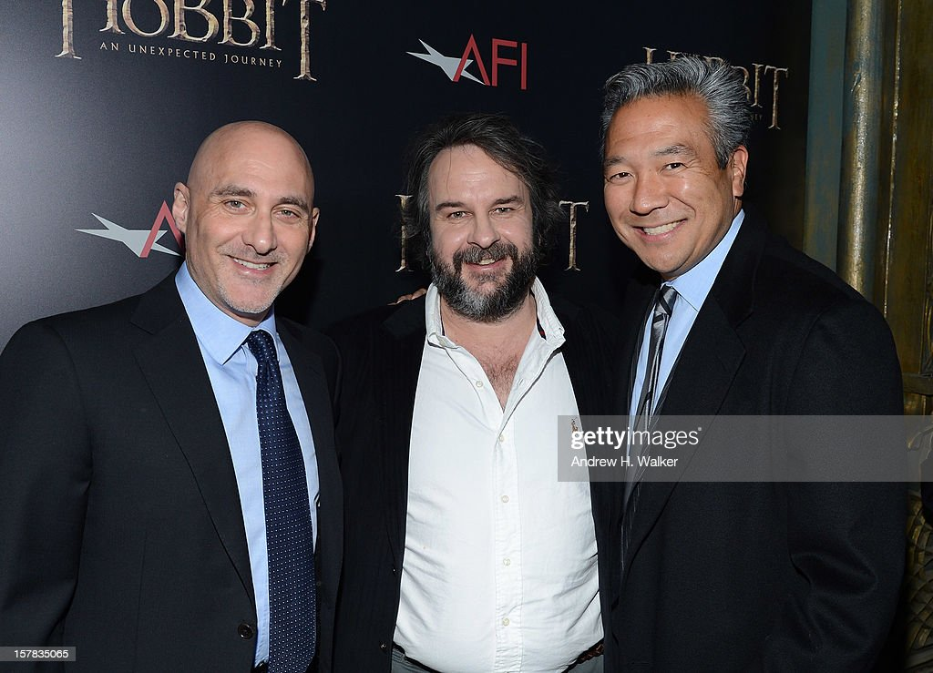 President of Warner Bros. Pictures Group Jeff Robinov, filmmaker Sir Peter Jackson, and President of Warner Bros. Home Entertainment Group Kevin Tsujihara attend 'The Hobbit: An Unexpected Journey' New York premiere benefiting AFI at Ziegfeld Theater on December 6, 2012 in New York City.