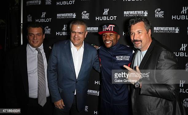 President of WBC Mauricio Sulaiman CEO of HUBLOT Ricardo Guadalupe, WBC/WBA welterweight champion Floyd Mayweather Jr. And President of HUBLOT Latin...