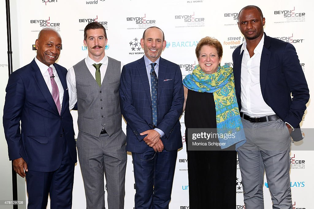 President of Western Union Foundation Patrick Gaston, Professional football player with New York City FC Jeb Brovsky, Comissioner of Major League Soccer and CEO of Soccer United Marketing Don Garber, President and CEO, U.S. Fund For Unicef, Caryl M. Stern and former professional football player and Western Union Pass Ambassador Patrick Vieira attend the Beyond Soccer Series Powered By streetfootballworld at Thomson Reuters Building on June 22, 2015 in New York City.