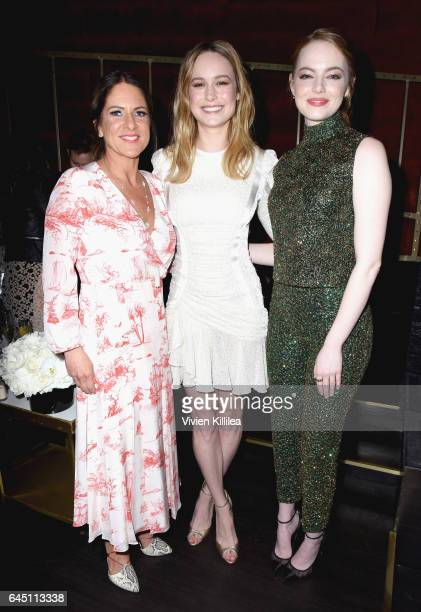 President of Women In Film Cathy Schulman actors Brie Larson and Emma Stone attend the tenth annual Women in Film PreOscar Cocktail Party presented...