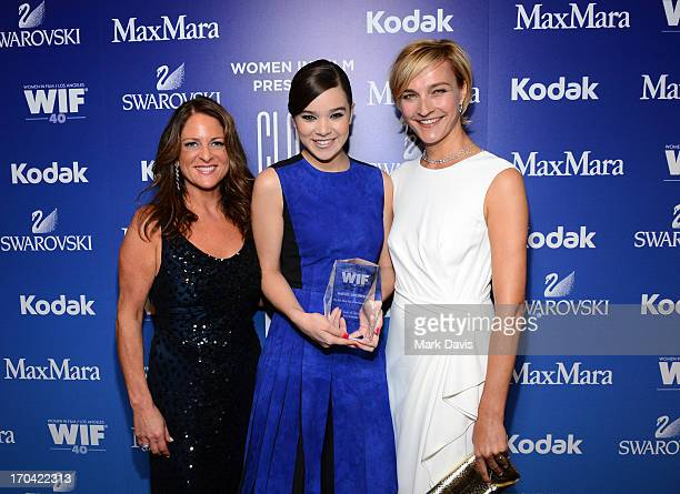 President of Women in Film Cathy Schulman actress Hailee Steinfeld recipient of The 2013 Women In Film Max Mara Face of the Future Award and Max Mara...