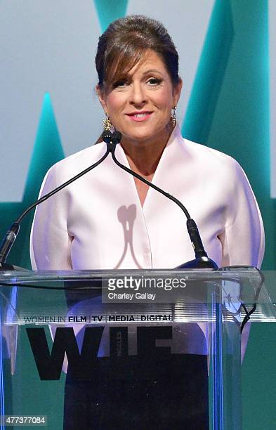 President of Women In Film Los Angeles Cathy Schulman speaks onstage during the Women In Film 2015 Crystal Lucy Awards Presented by Max Mara BMW of...